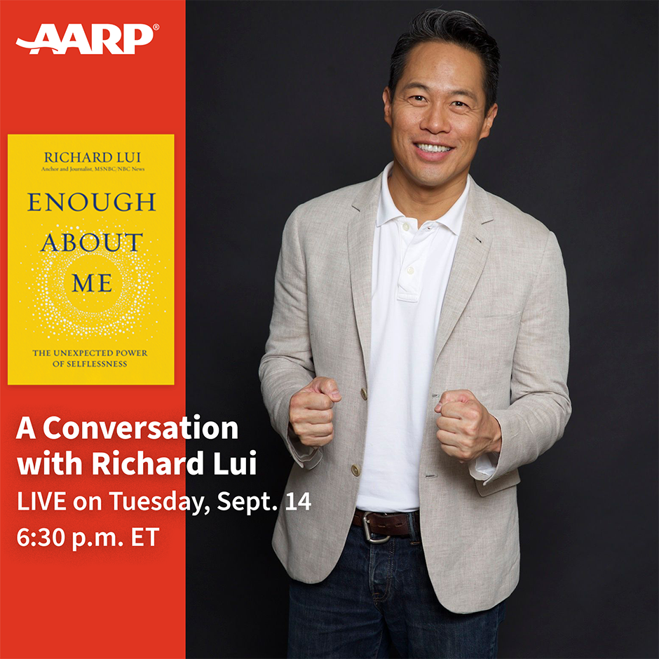 Graphic showing Richard Lui, Enough About Me book cover and event details